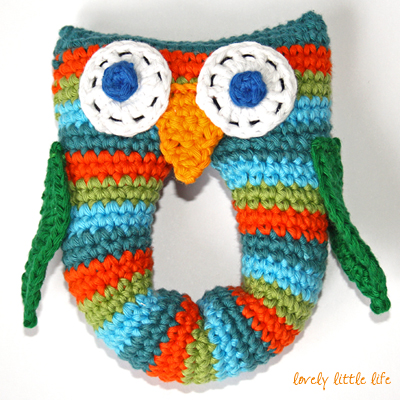 Post image for Stripey Owl Baby Rattle