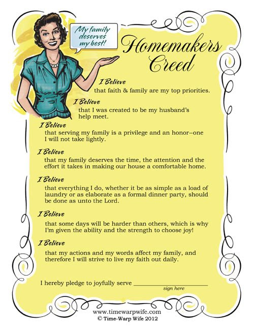 homemakers creed