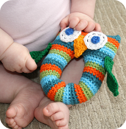 Stripey Owl Baby Rattle