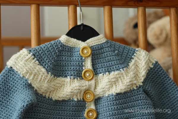 Crochet Cardigan - Cabled Yoke
