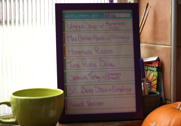 Our meal planning display board