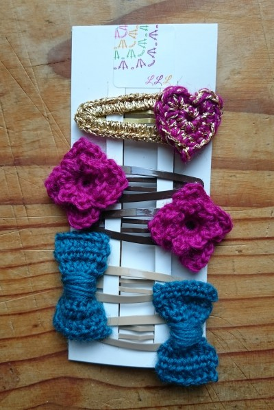 crochet bow and flower hair clip set